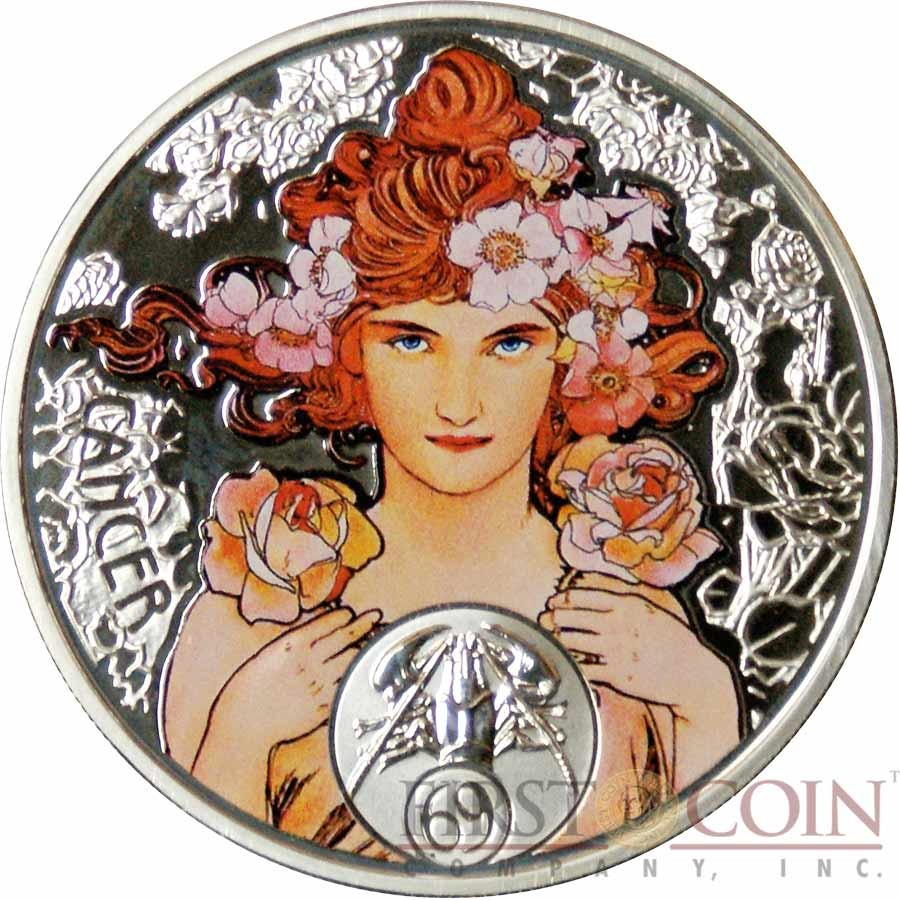 Niue Island CANCER $1 Painter Alphonse Mucha Zodiac series Colored