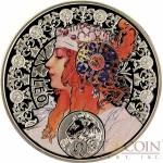 Niue Island LEO $1 Painter Alphonse Mucha Zodiac series Colored Silver Coin 2011 Proof