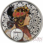 Niue Island LIBRA $1 Painter Alphonse Mucha Zodiac series Colored Silver Coin 2011 Proof