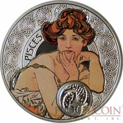 Niue Island PISCES $1 Painter Alphonse Mucha Zodiac series Colored Silver Coin 2010 Proof