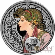Niue Island SAGITTARIUS $1 Painter Alphonse Mucha Zodiac series Colored Silver Coin 2011 Proof