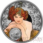 Niue Island SCORPIO $1 Painter Alphonse Mucha Zodiac series Colored Silver Coin 2011 Proof