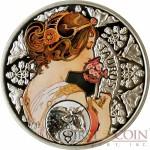 Niue Island TAURUS $1 Painter Alphonse Mucha Zodiac series Colored Silver Coin 2011 Proof