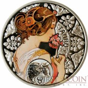 Niue Island TAURUS $1 Painter Alphonse Mucha Zodiac series Colored Silver Coin 2011 Proof