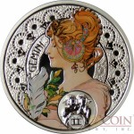 Niue Island GEMINI $1 Painter Alphonse Mucha Zodiac series Colored Silver Coin 2011 Proof