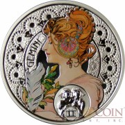 Niue Island GEMINI $1 Painter Alphonse Mucha Zodiac series Colored Silver Coin 2011 Proof