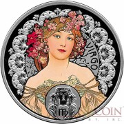 Niue Island VIRGO $1 Painter Alphonse Mucha Zodiac series Colored Silver Coin 2011 Proof