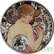 Niue Island AQUARIUS $1 Painter Alphonse Mucha Zodiac series Colored Silver Coin 2010 Proof