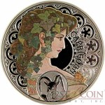 Niue Island CAPRICORN $1 Painter Alphonse Mucha Zodiac series Colored Silver Coin 2010 Proof
