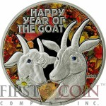 Niue Island HAPPY YEAR OF THE GOAT $1 Colored Silver Coin 2015 Proof