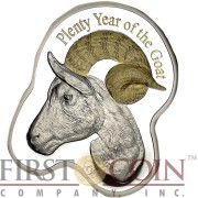 Niue Island PLENTY YEAR OF THE GOAT $1 Gilded Colored Goat head shape Silver Coin 2015 Proof