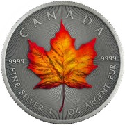 Canada AUTUMN FALL - FOUR SEASONS Canadian Maple Leaf $5 Silver Coin 2020 Antique finish 1 oz