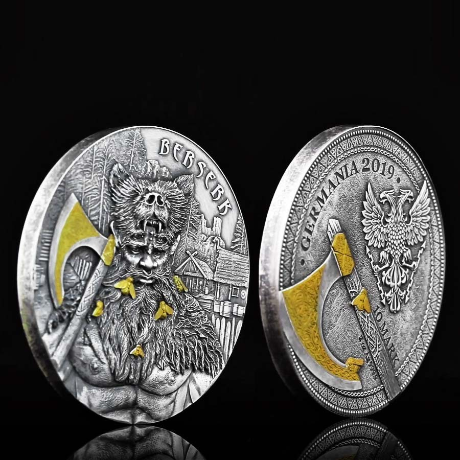 Germania BERSERK series THE WARRIORS 10 Mark Silver Coin High Relief Antique finish 2019 Gold plated 2 oz