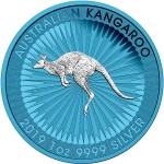 Australia AUSTRALIAN KANGAROO SPACE BLUE series SPACE EDITION $1 Dollar Silver Coin 2019 Galvanic plated 1 oz
