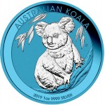 Australia AUSTRALIAN KOALA SPACE BLUE series SPACE EDITION $1 Dollar Silver Coin 2019 Galvanic plated 1 oz