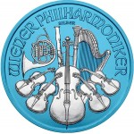 Austria VIENNA PHILHARMONIC SPACE BLUE series SPACE EDITION €1.5 Euro Silver Coin 2019 Galvanic plated 1 oz
