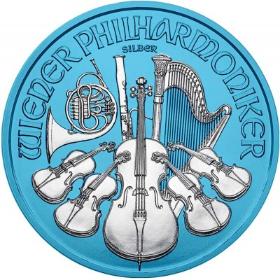 Austria VIENNA PHILHARMONIC series SPACE BLUE €1.5 Euro Silver Coin 2019 Galvanic plated 1 oz