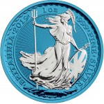 United Kingdom BRITANNIA series SPACE BLUE ₤2 Pound Silver Coin 2019 Galvanic plated 1 oz