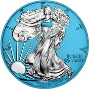 USA American Silver Eagle Walking Liberty SPACE BLUE series SPACE EDITION $1 Dollar Silver Coin 2019 Galvanic plated 1 oz