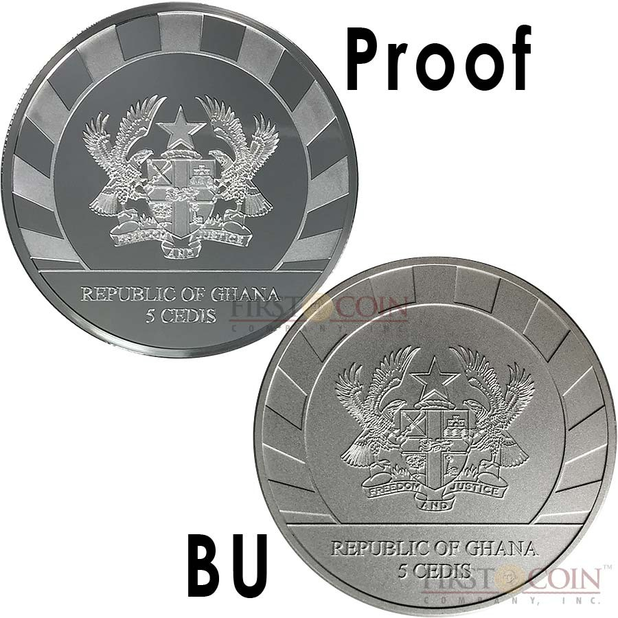 Republic of Ghana YEAR OF THE GOAT Series LUNAR SKULLS 2015 PROOF 5GH₵ + BU 5GH₵ Cedis Two Silver Coin Set 2 oz