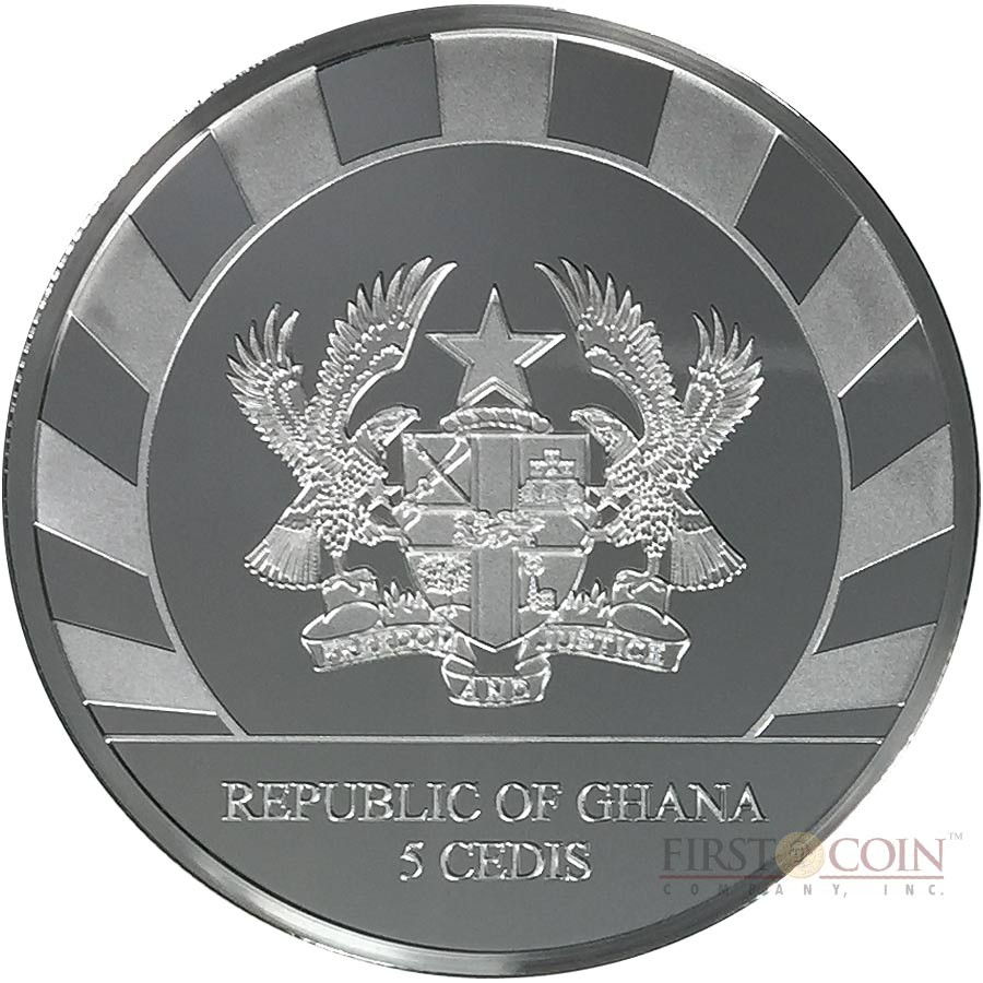 Republic of Ghana YEAR OF THE GOAT Series LUNAR SKULLS 2015 Silver coin 5GH₵ Cedis PROOF 1 oz