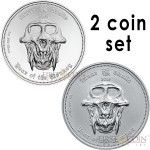 Republic of Palau YEAR OF THE MONKEY Series LUNAR SKULLS 2016 $5 PROOF + $5 BU Two Silver Coin Set Matched serial numbers 2 oz