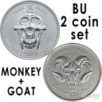 Republic Palau & Republic Ghana YEAR OF THE MONKEY 2016 $5 & 5GH₵ YEAR OF THE GOAT 2015 Series LUNAR SKULLS Two Silver Coin Set BU 2 oz