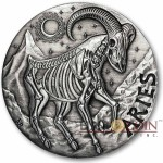 ARIES ZODIAC – MEMENTO MORI Series Skull 2015 Silver coin round High relief Antique finish Rimless 1oz