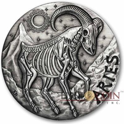 ARIES ZODIAC – MEMENTO MORI Series Skull 2015 Silver coin round High relief Antique finish Rimless 1oz