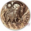 ARIES ZODIAC – MEMENTO MORI Series Skull 2015 Copper coin round High relief Antique finish Rimless 1oz