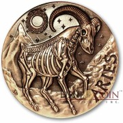 ARIES ZODIAC – MEMENTO MORI Series Skull 2015 Copper coin round High relief Antique finish Rimless 1oz