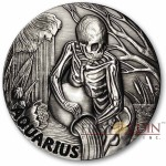 AQUARIUS ZODIAC – MEMENTO MORI Series Skull 2015 Silver coin round High relief Antique finish Rimless 1oz