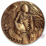 AQUARIUS ZODIAC – MEMENTO MORI Series Skull 2015 Copper coin round High relief Antique finish Rimless 1oz