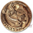 PISCES ZODIAC – MEMENTO MORI Series Skull 2015 Copper coin round High relief Antique finish Rimless 1oz