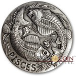 PISCES ZODIAC – MEMENTO MORI Series Skull 2015 Silver coin round High relief Antique finish Rimless 1oz
