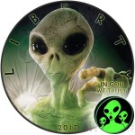 USA GREEN ALIEN UFO American Silver Eagle WALKING LIBERTY $1 Silver coin 2017 Black Ruthenium plated Glow in the Dark 1 oz