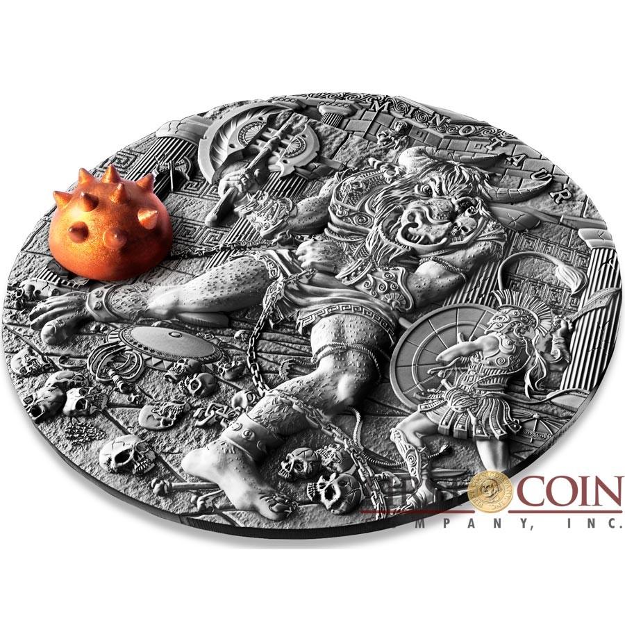 Niue Island MINOTAUR series ANCIENT MYTHS Silver Coin $5 Antique finish 2017 Detailed High Relief 2 oz
