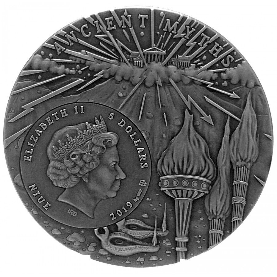 Niue Island PROMETHEUS series ANCIENT MYTHS Silver Coin $5 Antique finish 2019 Ultra High Relief Gold plated 2 oz