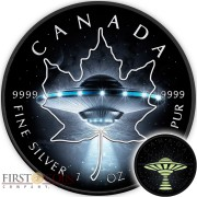 Canada UFO GLOW IN THE DARK CANADIAN MAPLE LEAF $5 Silver Coin 2017 Black Ruthenium plated 1 oz