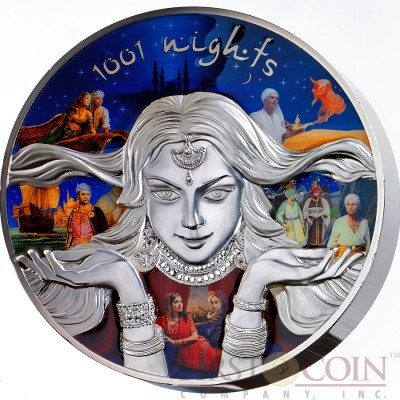 Niue Island 1001 NIGHTS FAIRY TAIL SCHEHERAZADE and CHARACTERS $150 Silver coin 2016 High relief 1001 grams / 1.01 Kilo