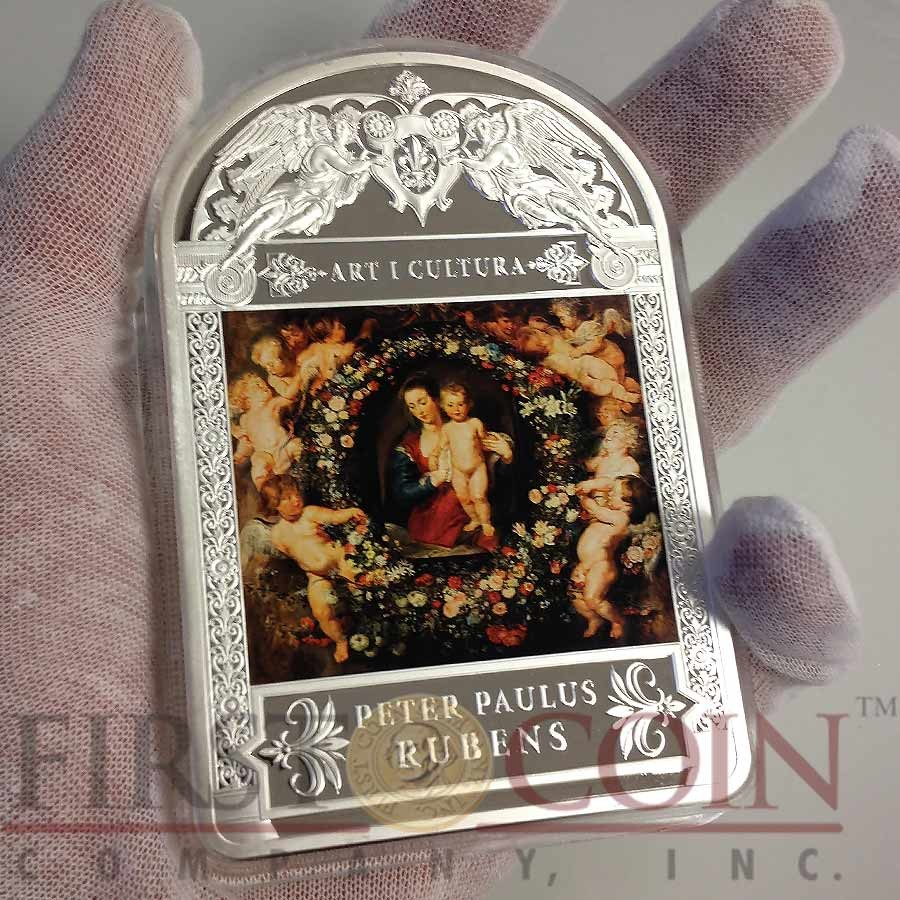 Andorra MADONNA in a GARLAND FLOWERS WREATH 1619 PETER PAUL RUBENS 100 Diners Silver Coin 2014 Proof 1 Kilo / Kg