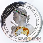 British Virgin Islands IMPERATOR CAESAR AUGUSTUS 2000th Anniversary of Death Silver coin $200 Proof 2014 diamonds inlay 2 Kilo