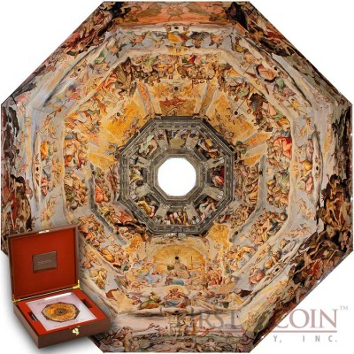 Niue Island Fresco Under the Dome Basilica of Saint Mary of the Flower $90 Edgeless Silver Nine Coin set 2014 Reverse Proof 1 Kilo / Kg