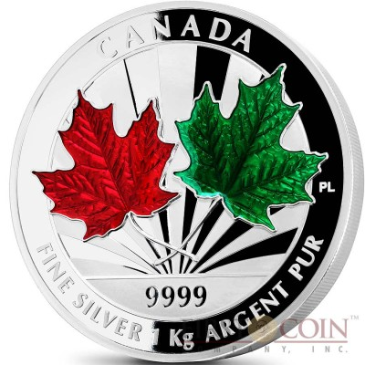 Canada Maple Leaf Forever $250 Silver Coin Enamel 2014 Proof 1 Kilo / Kg