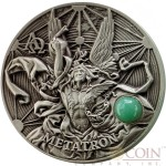 Niue Island METATRON THE KING OF ANGELS series THE CHOIR OF ANGELS Silver coin $5 High relief 2016 Antique finish Angelic green aventurine gemstone 2 oz
