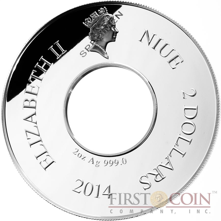 Niue Island Rotating Horse $2 Silver Coin Torus shape 2 oz Proof 2014