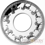 Niue Island Rotating Horse $2 Silver Coin Torus shape 2 oz Proof 2014