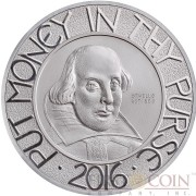 United Kingdom WILLIAM SHAKESPEARE 400th anniversary death of William Shakespeare Silver coin 10 Pounds Proof 2016