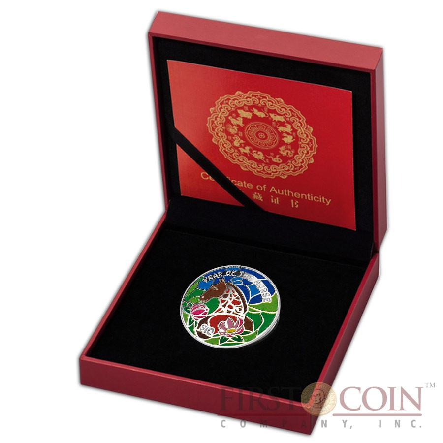 Fiji Year of the Horse Lunar Chinese Calendar 2014 Colored  $10 Silver Coin 1 oz