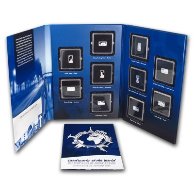 Solomon Islands ALBUM LANDMARKS OF THE WORLD Masterpieces of Architecture $5 Ten Silver Coin Set 2014 Proof